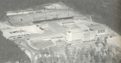 SHADES VALLEY HIGH SCHOOL AS IT APPEARED AT ITS OPENING AROUND 1950.(Click to enlarge.)